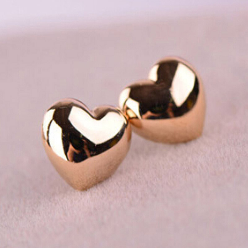 p gold heart stud puffy shaped asp earrings