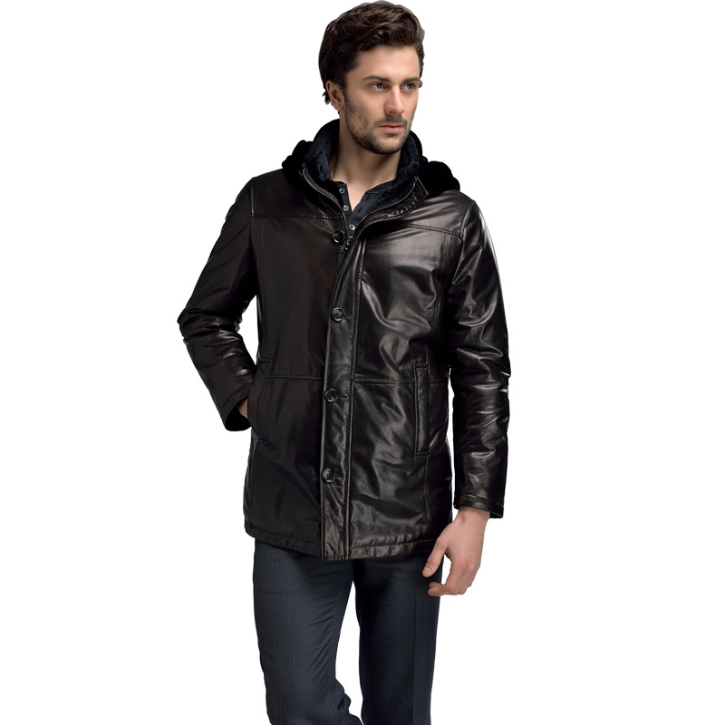 100 sheepskin genuine leather jacket man thicken veste