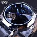 Ganador Del Océano Azul Geometría Diseño Transparente Esqueleto Dial Reloj de Los Hombres de Primeras Marcas de Lujo Automático Reloj Mecánico de La Manera Reloj