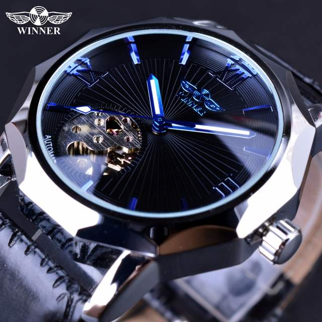 7ecda05df87 placeholder Vencedor Do Oceano Azul Geometria Transparente Esqueleto Dial  Mens Watch Top Marca de Luxo Relógio Automático