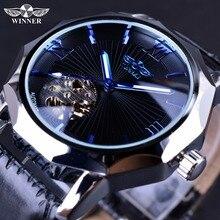 Gagnant Bleu Océan Géométrie Conception Transparent Cadran Squelette Hommes Montre Top Marque De Luxe De Mode Automatique Mécanique Montre Horloge