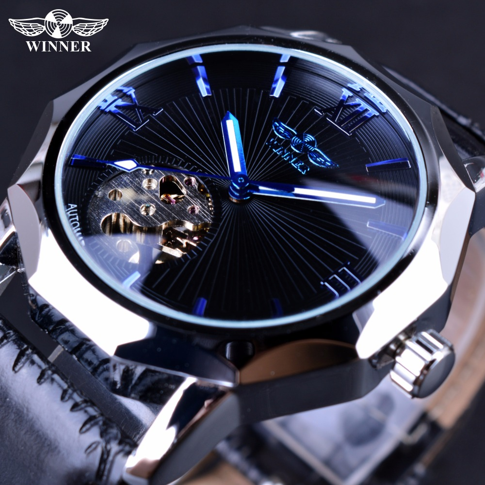 Winner Blue Ocean Geometry Design Transparent Skeleton Dial Mens Watch Top Brand Luxury Automatic Fashion font