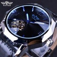 Winner Blue Ocean Geometry Design Transparent Skeleton Dial Men Watch Top Brand Luxury Automatic Fashion Mechanical Watch Clock