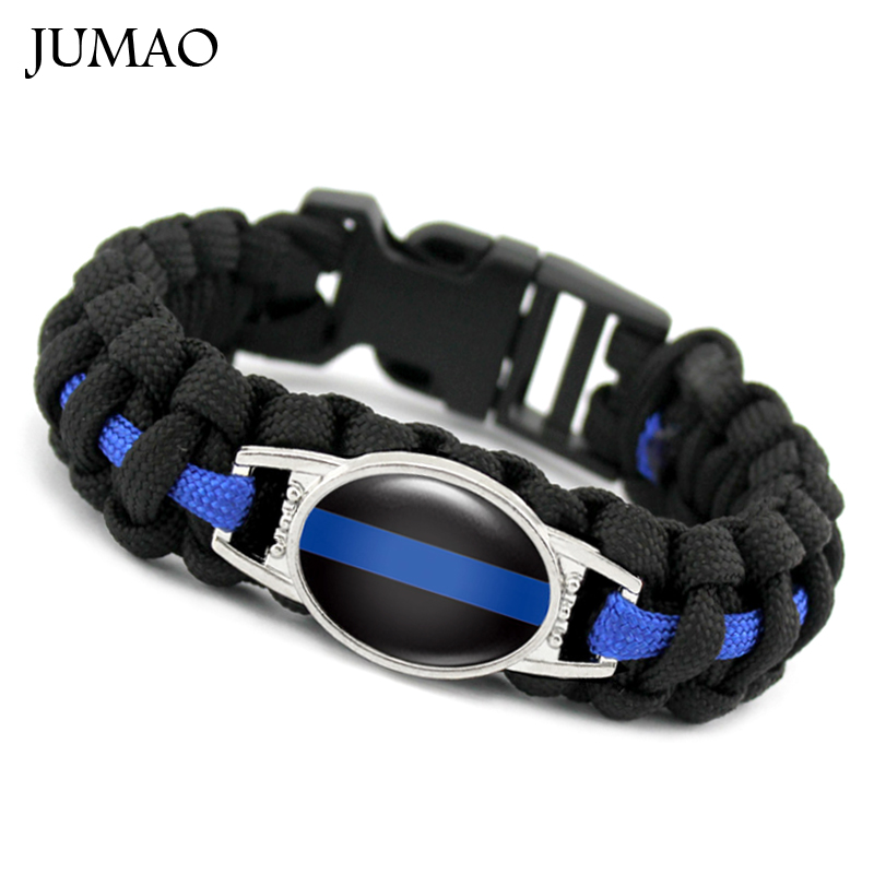 Blue Leatherthin Blue Line Paracord Bracelet Usa America Support Lives Police Matter Survival Bangle Bracelet Fixing Prices According To Quality Of Products Buckles & Hooks Apparel Sewing & Fabric