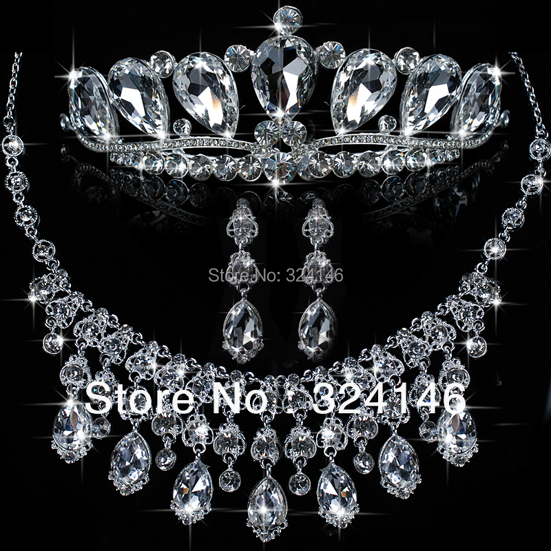 Luxuious Silver Plated macrame Jewelry Set for Women fashion Crystal Tiara Necklace Earrings Jewelry Sets for Wedding Bride