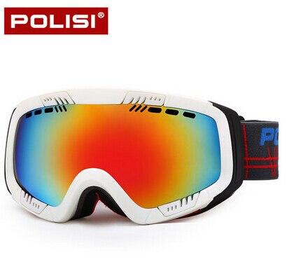 POLISI Resin Frames Professional Ski Mirror Brand Quality Goods Double Lens Spherical Large PC Anti-Fog Ski Goggles