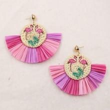 Multi-colors Wood Rattan Earrings Wicker Straw Raffia Tassel Earring Vintage Flamingo Earing Summer Jewelry Pendientes Mimbre