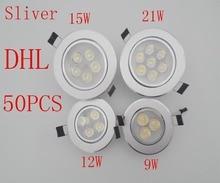50PCS/lot Bright Recessed LED Dimmable Downlight COB 9W 12W 15W 21W LED Spot light decoration Ceiling Lamp AC 110V 220V 85-26V [dbf]silver housing led cob downlight dimmable ac110v 220v 6w 9w 12w 15w 18w recessed led spot light decoration ceiling lamp