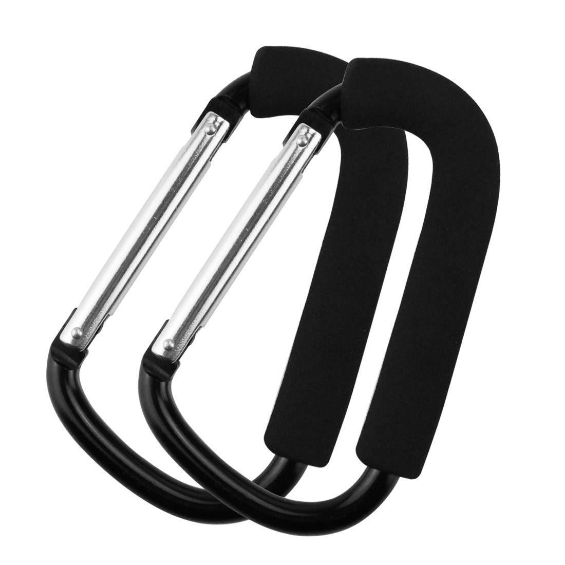 """Крючки для прогулочных колясок держатель для продуктовой сумки ручка карабины 6,"""" 5,1"""" Удобный очень большой d-образный инструмент для переноски крючков с мягкой пеной - Цвет: 16x10cm Black 1piece"""