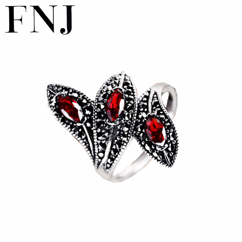 Synthetic Garnet Ring 925 Sterling Silver anillos Red Stone Punk Trendy Wedding S925 Thai Silver Rings for Women Jewelry
