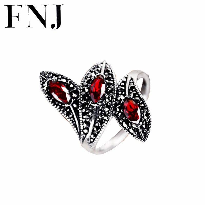 Bague grenat synthétique 925 argent Sterling anillos pierre rouge Punk mariage à la mode S925 Thai argent anneaux pour femmes bijoux