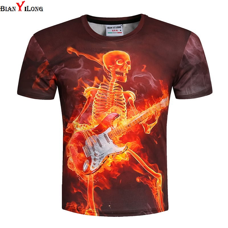 Men/women Skulls Clothing Summer T shirt Mens Fashion 3D Printed Flame skull T-shirt Cas ...