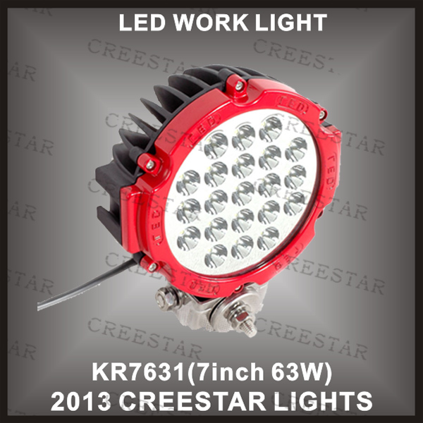 ФОТО FREE SHIPPING!!! 2 pieces/lot 63w LED OFFROAD LIGHT 63W LED WORK LIGHT FOR BOAT 4X4 TRUCK SUV JEEP 4WD KR7631