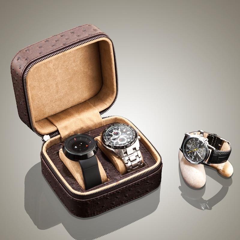 Yao 2 fentes PU cuir montre boîtier marron voyage montre boîte de rangement Top qualité montre bijoux cadeau sac hommes montre affichage boîte B019