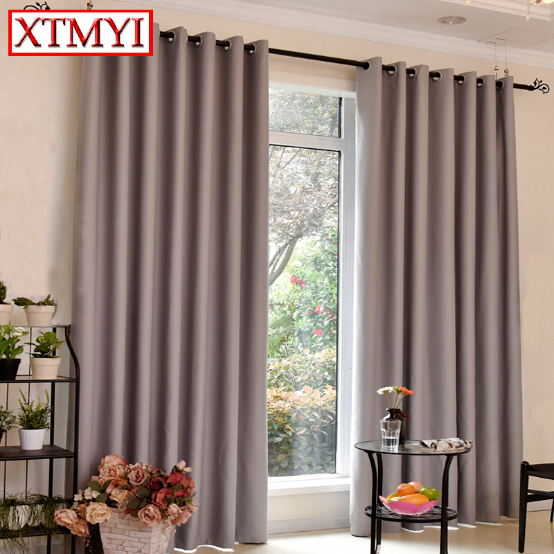 Japan Style Blackout Curtains For Bedroom Window Living Room Gray Solid Blinds Custom