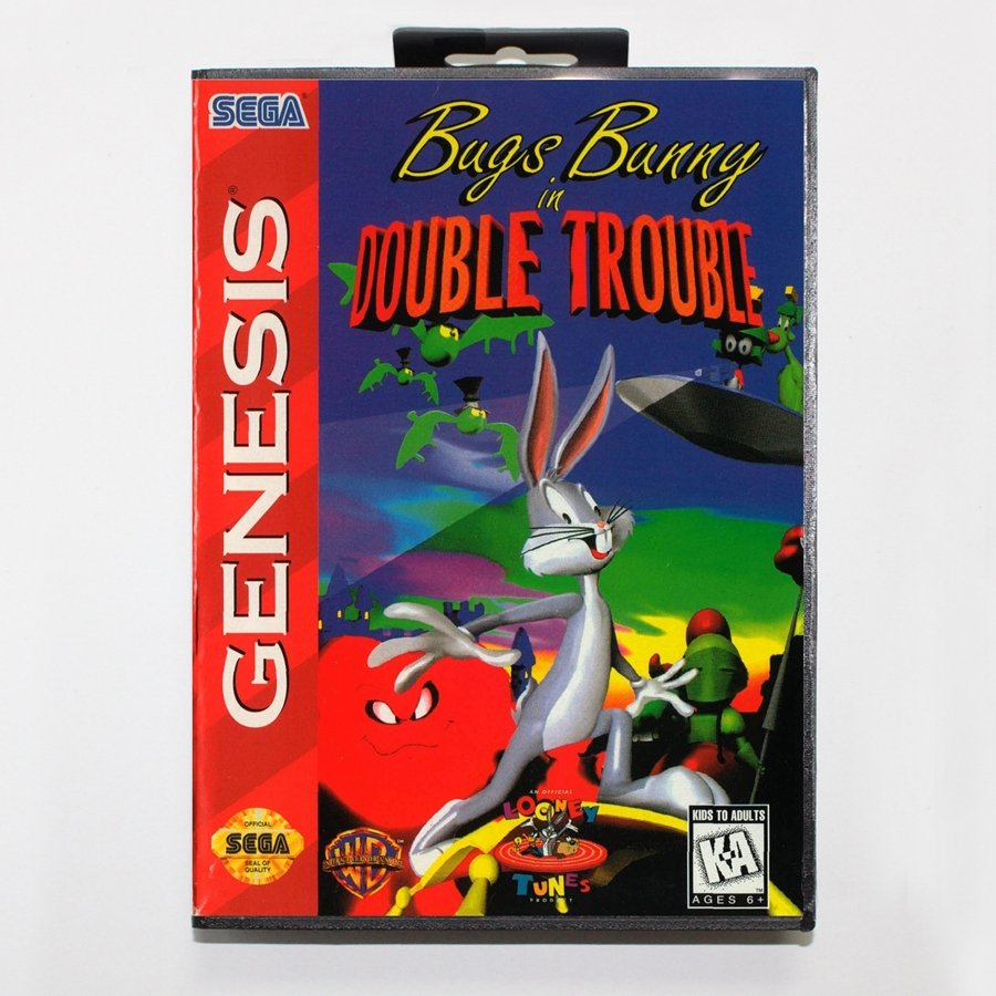 16 bit Sega MD game Cartridge with Retail box – Bugs Bunny in Double Trouble game card for Megadrive Genesis system