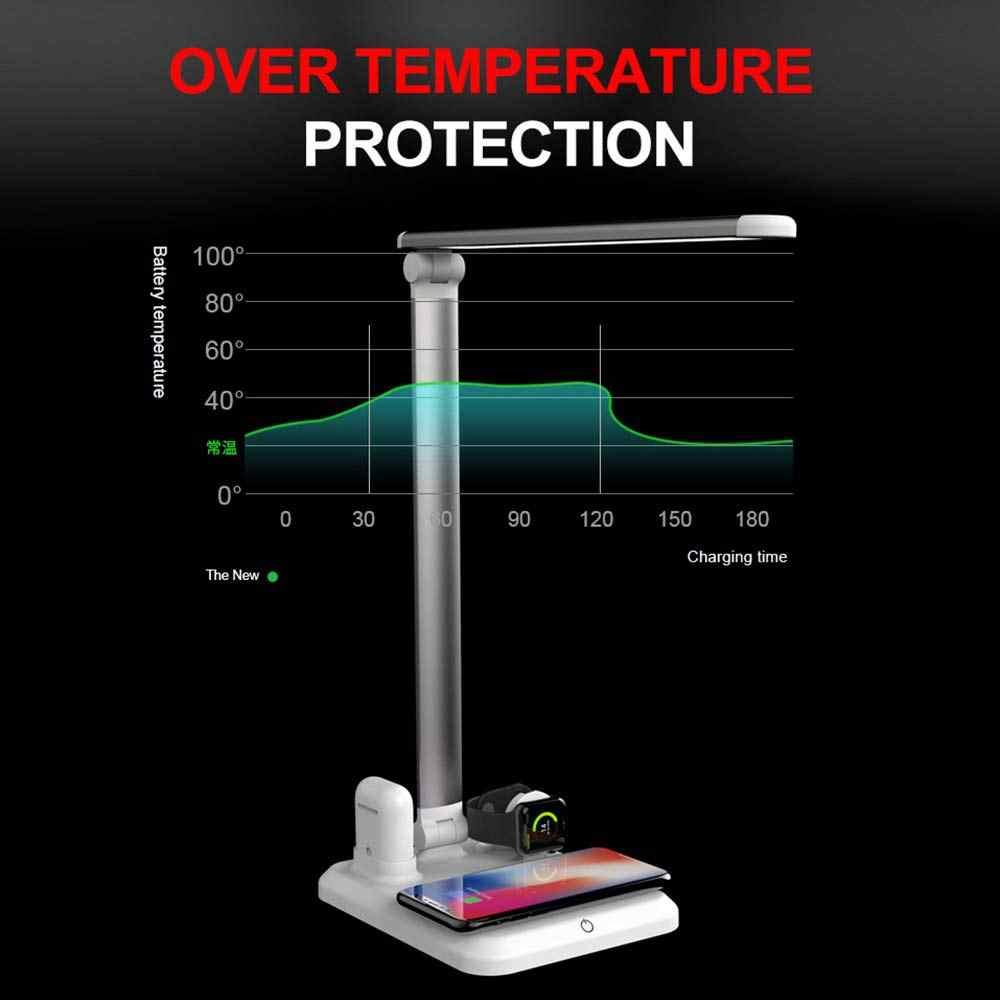 NYFundas bezprzewodowy doprowadziły lampy biurko uchwyt stacja ładowarka 10W do zegarka Apple Watch Series 4 3 2 Iphone XS MAX XR 8 Plus X Iwatch airpods