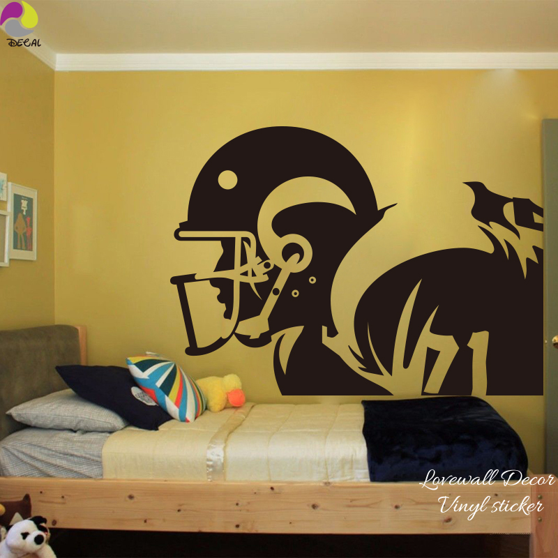 Large Size America Football Wall Sticker Kids Room Bedroom Rugby ...