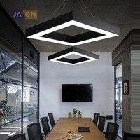 LED Postmodern Iron Acrylic Black White Square Chandelier Lighting Lamparas De Techo Suspension Luminaire Lampen For Office