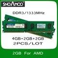 Оптовая 2 ШТ. Бренд РАМС 4 ГБ = 2 ГБ + 2 ГБ PC3-10600 1333 МГц Двухканальной DIMM Памяти для Настольных ПК Для AMD Система Быстрая Доставка