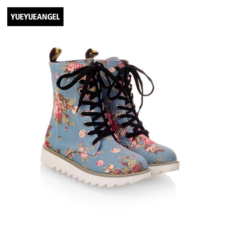 Hot Sale Women Shoes Lace Up Round Toe Mid Calf Boots For Women Fashion Print Floral Embellished Denim Shoes Retro Femme Boots double buckle cross straps mid calf boots