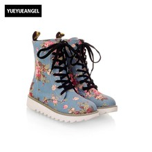 Hot Sale Women Shoes Lace Up Round Toe Mid Calf Boots For Women Fashion Print Floral Embellished Denim Shoes Retro Femme Boots