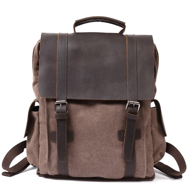 YUPINXUAN Vintage pur coton toile cuir sacs à dos hommes école sac à dos résistant à l'usure sac de voyage grande capacité ordinateurs portables sacs à dos-in Sacs à dos from Baggages et sacs    1