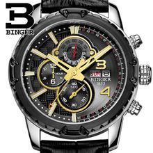 Швейцария мужские часы люксовый бренд наручные часы binger кварцевые часы многофункциональный военная секундомер glowwatch b6011-6