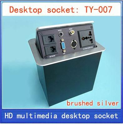 Desktop socket / hidden multimedia information box outlet / network RJ45 Audio video VGA XLR interface desktop socket Box TY-007 цена 2017