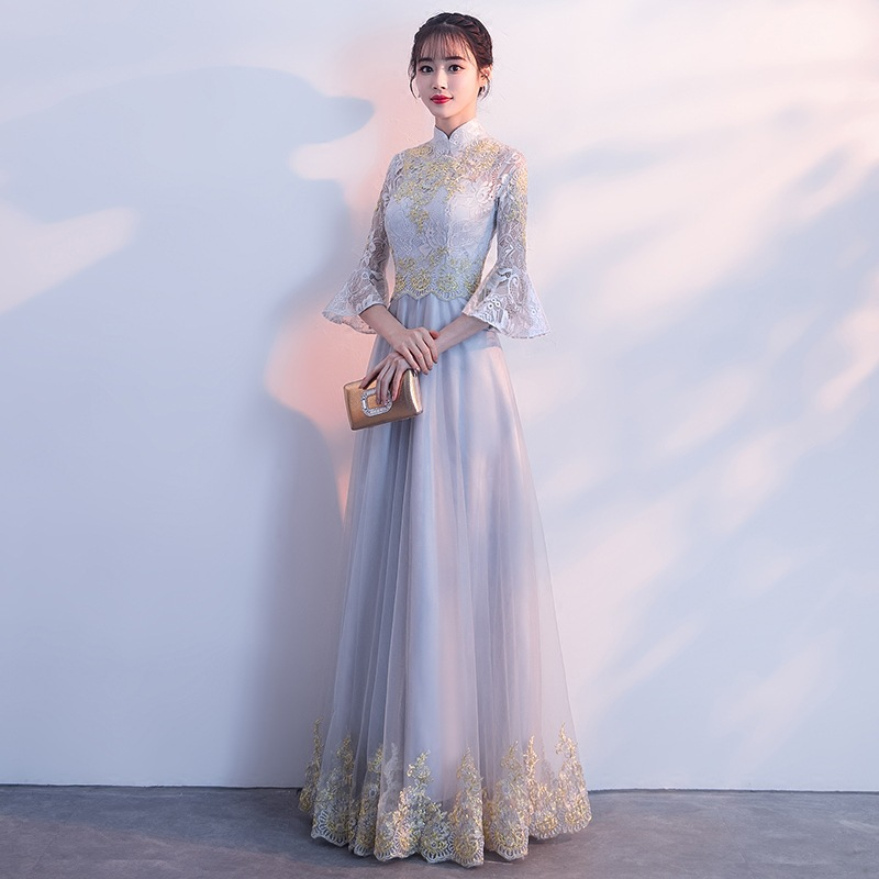 Spring Gray Embroidery Oriental Style Dresses Chinese Bride Vintage Traditional Wedding Cheongsam Dress Qipao Plus Size
