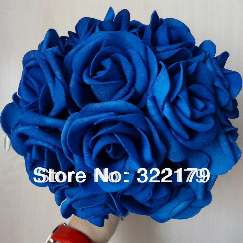 50X Royal Blue Roses Artificial Flowers DIY Bridal Wedding Bouquet ...