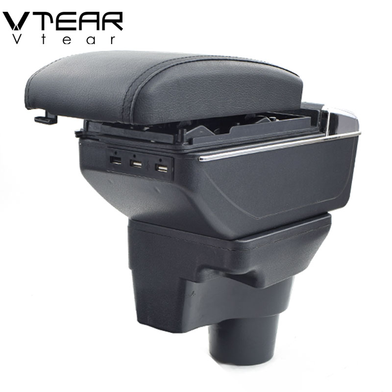 Vtear For 2017 KIA Rio 4 Rio X-line armrest box USB Charging interface central Store content box cup holder ashtray accessories car armrest for kia k2 rio 2011 2016 central store content storage box with cup holder ashtray accessories car styling abs