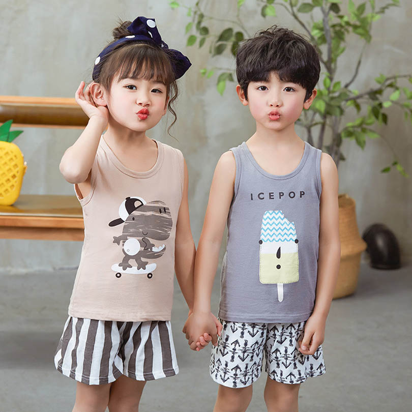 2018 Baby Cotton Summer Cute Cartoon 2PCS Kids Baby Boys Girls T-shirt Top Shorts Pants Set Clothes Children Casual Toddler 1-9Y summer baby boys clothing set cotton animal print t shirt striped shorts sports suit children girls cartoon clothes kids outfit