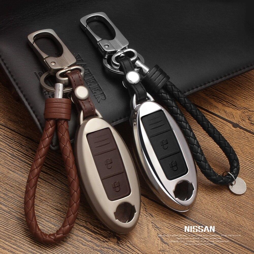En alliage de Zinc + Couverture À Distance Case Clés De Voiture En Cuir Pour Nissan Qashqai J10 J11 X-trail t31 t32 coups de pied Tiida Pathfinder Murano Note Juke