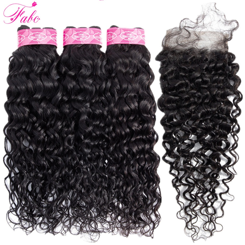 FABC Hair Brazilian Water Wave Bundles With Closure Non Remy Human Hair Weave Bundles Natural Black