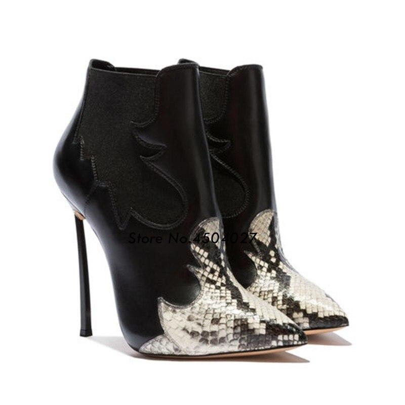 Femmes Talons Picture Botas Pointu Sexy As Bottine Bout Patchwork Femme Serpent Cheville Chaussures Bottes Mujer Hauts Mince Pour x7X7FTw