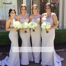 2019 Mermaid Long  Bridesmaid Dresses One-shoulder Satin Appliques Lace Wedding Party