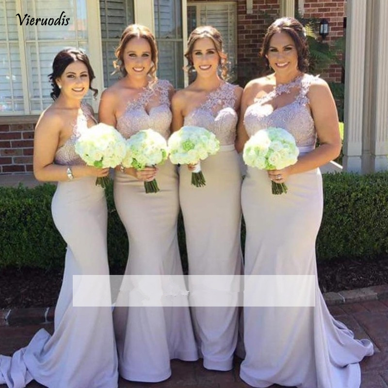 2019 Mermaid Long   Bridesmaid     Dresses   One-shoulder Satin Appliques Lace Wedding Party   Dresses