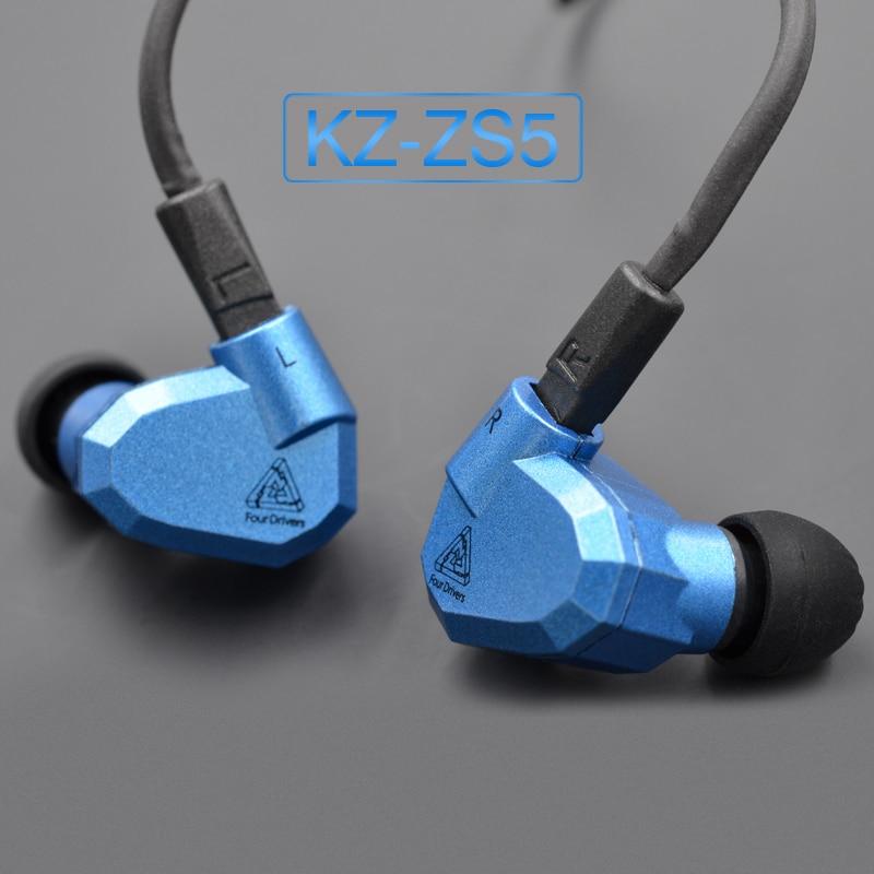 Hot Sale Original KZ ZS5 2DD 2BA Hybrid In Ear Earphones HIFI DJ Monito Running Sports Earphone Earplug Headset Earbuds KZ ZST original kz zs5 quad driver headphones in ear running sport bluetooth earphone earplug headset with mic silver detachable cable