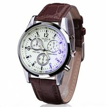 1PC Luxury Fashion Faux Leather Mens Blue Ray Glass Quartz Analog Watches Luxury