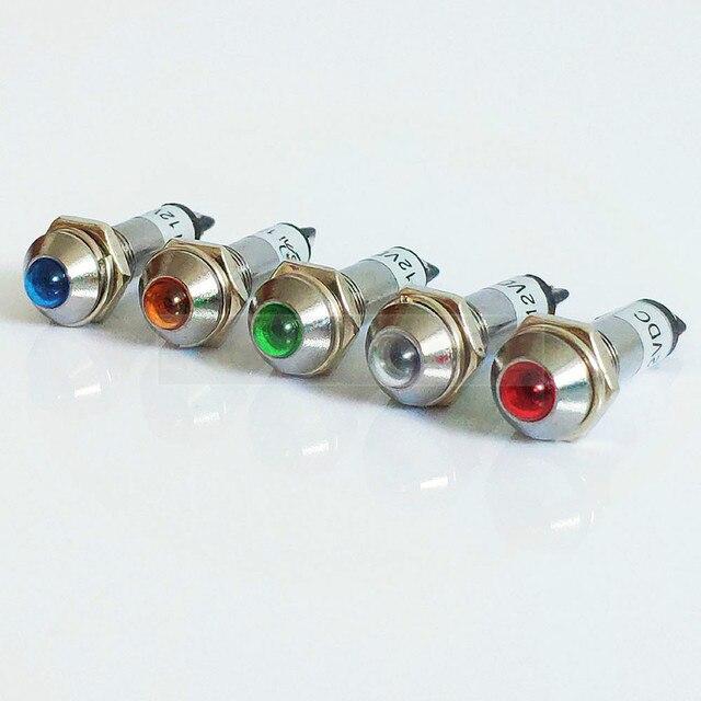 Светодиодная 8 мм металлическая индикаторная лампа Водонепроницаемая сигнальная лампа 12 В 24 В 220 В светодиодная сигнальная выпуклая лампа ...