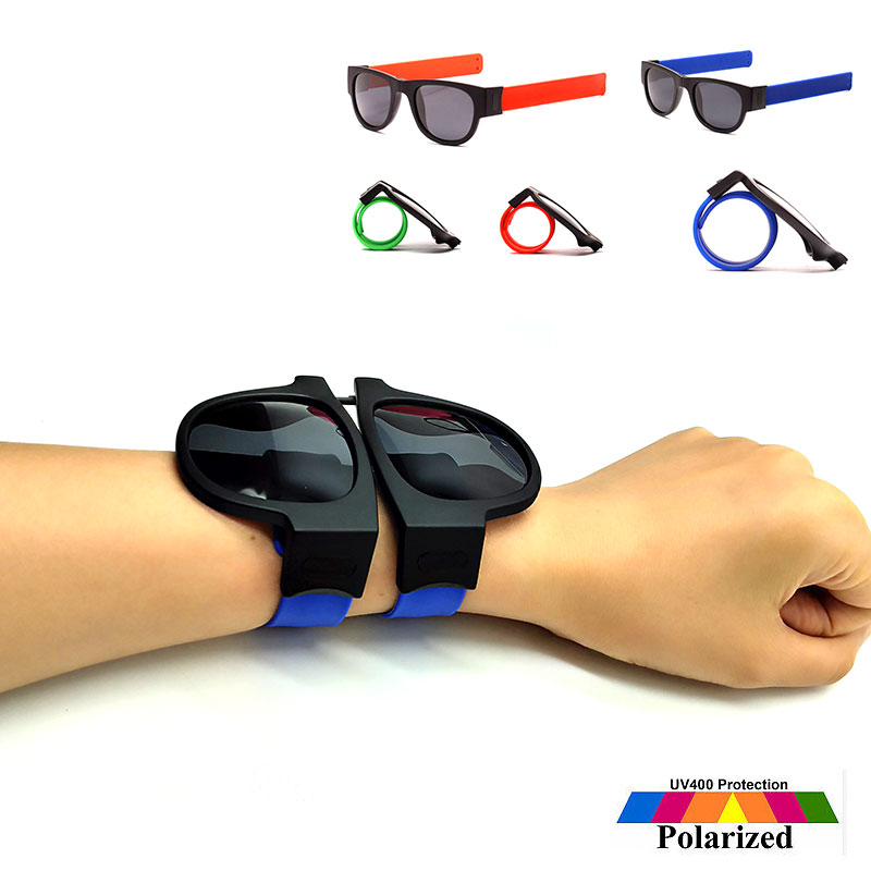 Slap Sunglasses Polarized Women Slappable Bracelet Sun Glasses for Men Wristband Folding Shades Oculos Colorful Fashion Mirror