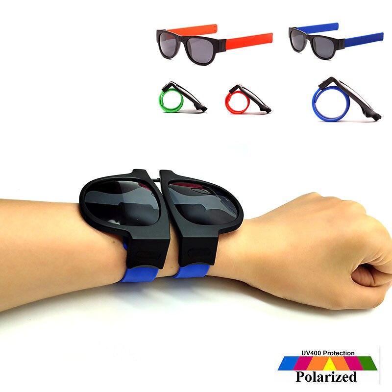 Slap Sunglasses Polarized Women Slappable Bracelet Sun Glasses for Men Wristband Folding Shades Oculos Colorful Fashion Mirror