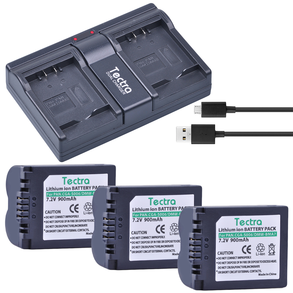 PowerTrust CGA-S006 Cargador Doble USB para Panasonic Lumix DMC-FZ7 DMC-FZ8 DMC-FZ18 DMC-FZ28 DMC-FZ30 DMC-FZ35 DMC-FZ38 DMC-FZ50