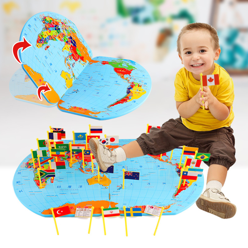 Wooden Toy Children Puzzle Toys Map Of The World Flags Baby's Cognition Geographical Knowledge Stereo Educational Toys Kids Gift