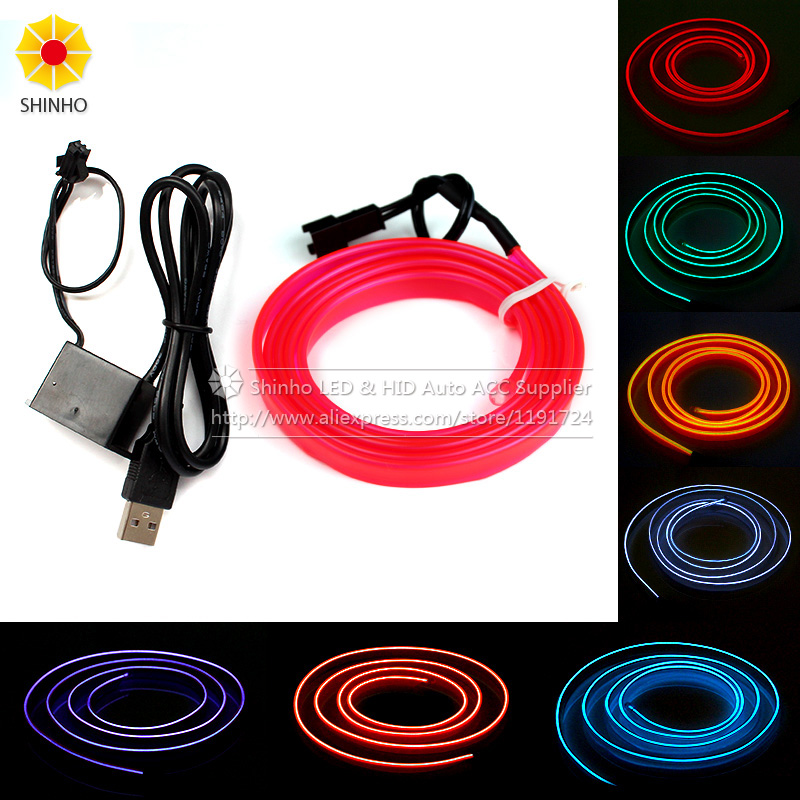 1m 3m 5m led strip flexible neon atmosphere el wire rope tube neon light for car interior light. Black Bedroom Furniture Sets. Home Design Ideas