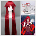 Kuroshitsuji Grell Sutcliff High Quality Beautiful Wig Black Butler Red Long Cosplay Anime Hair + Red Glasses + Chain + Wig Cap