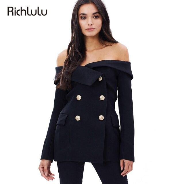 RichLuLu Black Sexy Off Shoulder Blazer Black Double Breasted Slash Neck Vintage Slim Coats Office Lady Casual Women Outwear