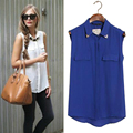 New 2016 Casual Basic women summer chiffon base lady Tank Top Cami Tee leisure blusas shirt pocket blouse Pure 4 color S~XXL