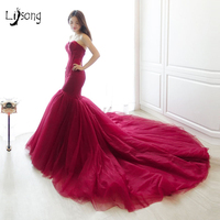 Moda Burgundy Syrenka Evening Formalnej Sukni Płaszcza Klasyczne Super DŁUGI POCIĄG Custom Made Bez Ramiączek Damskie Czerwone Sukienki Maxi Suknia
